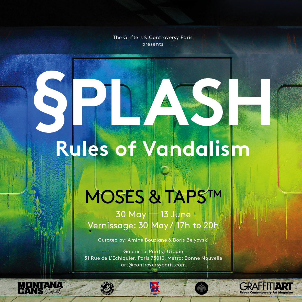 Preview plash rules of vandalism solo exhibition by for Echiquier mural